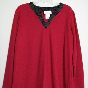 Susan Graver XL Red Black Asian Collar Tunic